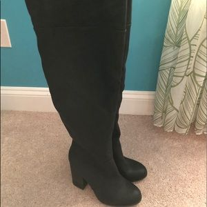 Call it Spring knee high black heal boots
